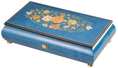 50弁最高級木製BOX(イタリア象嵌)ブルーつやあり